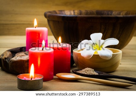 Spa setting on old wooden background