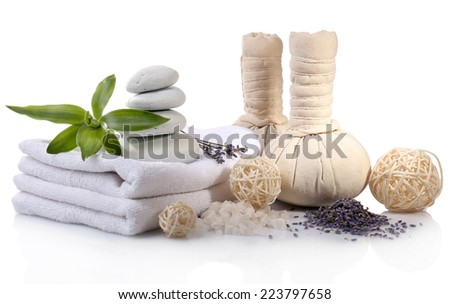 Spa setting on table on light background - stock photo