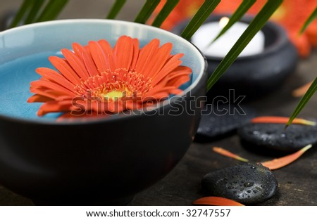 Spa setting with bowl of water, flower and candles - stock photo