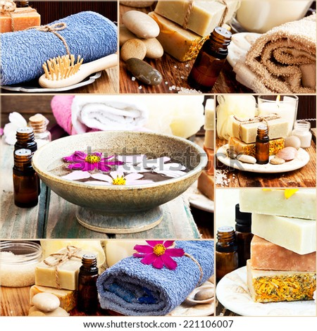 Spa Setting with Essence Oil,Natural Soap,Clay Mask,Soft Towel and Flowers in a Collage