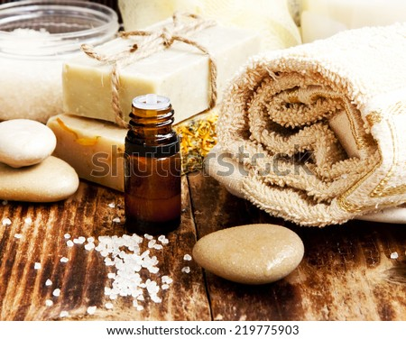 Spa Setting with Essence Oil,Natural Soap,Soft Towel and Sea Salt