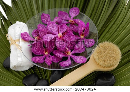 Spa setting with orchid with stones ,towel ,brush on green palm leaf - stock photo