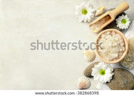 Spa setting with sea salt, top view - stock photo