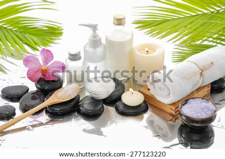spa setting with towel,orchid, palm,salt in bowl,candle - stock photo