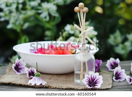 spa settings, cute background - stock photo