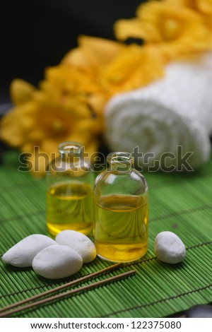 Spa Settings with branch orchid and massage oil,towel