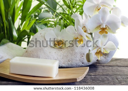 Spa soap orchids and stones on white background with palm - stock photo