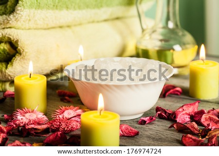 SPA still life: aromatherapy candle and bath products
