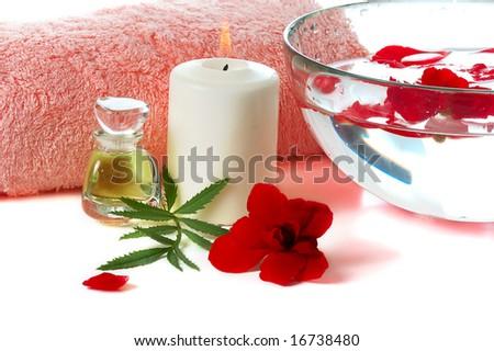 spa still life  on white background - stock photo