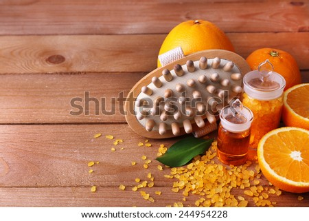 Spa still life on wooden background - stock photo