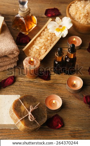 Spa still life on wooden table background - stock photo
