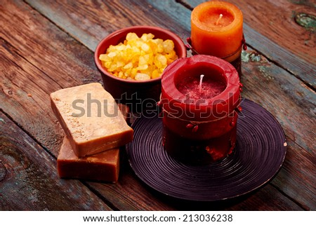Spa still life over wooden background