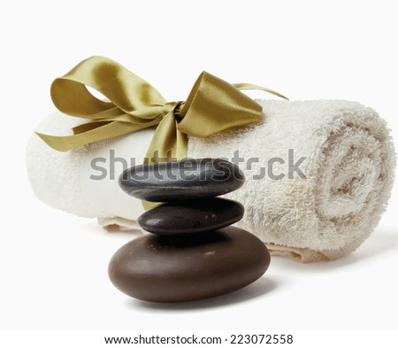 Spa still life-towel isolated on white background - stock photo