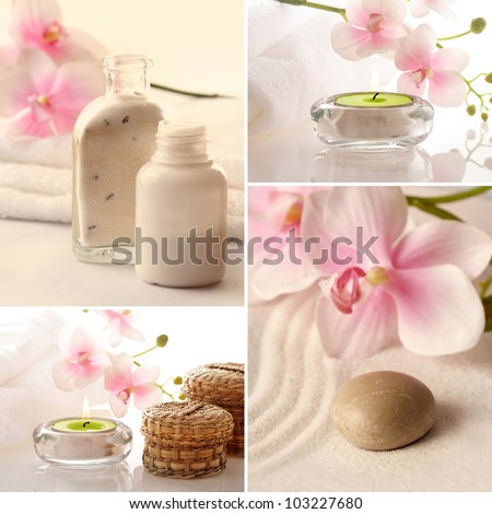 SPA still life with aromatherapy candle and orchid flowers - stock photo