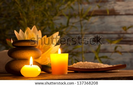 Spa still life with aromatic candles - stock photo