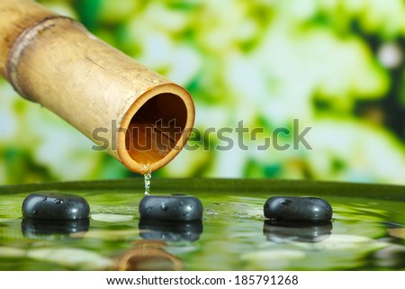 Spa still life with bamboo fountain, on bright background - stock photo