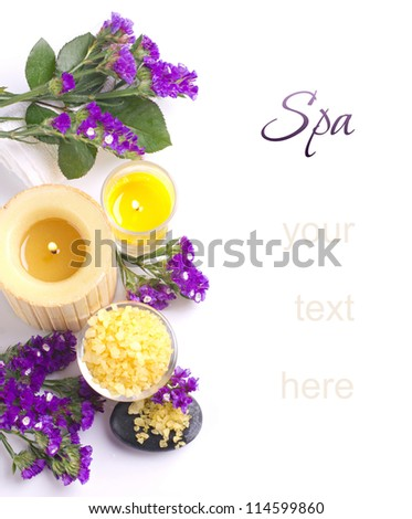 Spa still life with  flower, bath salts and candles  isolated on white - stock photo