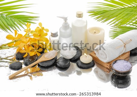spa still life with green palm background - stock photo