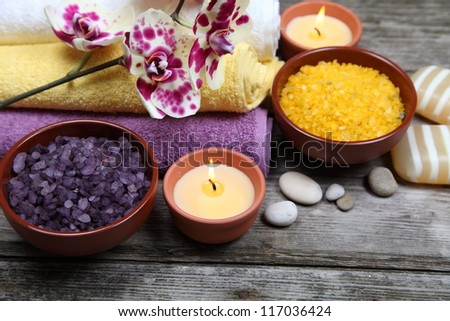Spa still life with orchid on a wooden background - stock photo