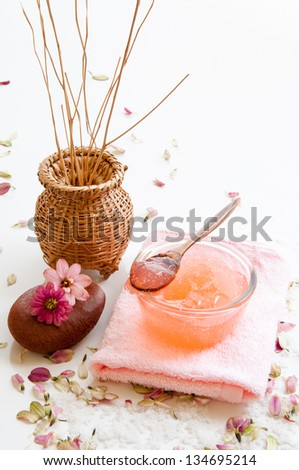 Spa still life with organic scrub and soap. - stock photo