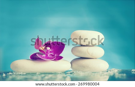 Spa still life with pink orchid and white zen stone - retro styled photo - stock photo