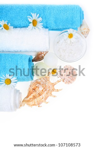 Spa still life with sea salt, shells, daisies and towels