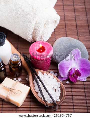 Spa still life with vanilla pods, hand made soap, aroma oils and sea salt