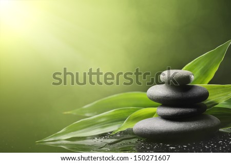 Spa still life with zen stone and bamboo leaves