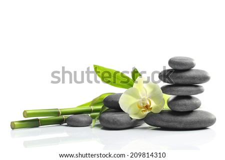 Spa still life with zen stones and flower - stock photo