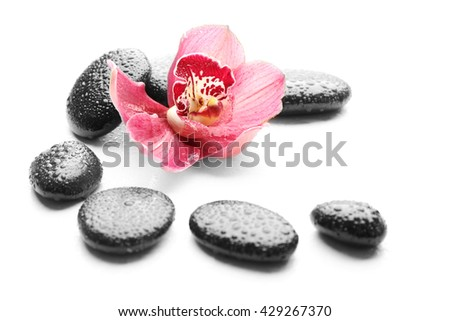 Spa stones and beautiful pink orchid on white background - stock photo