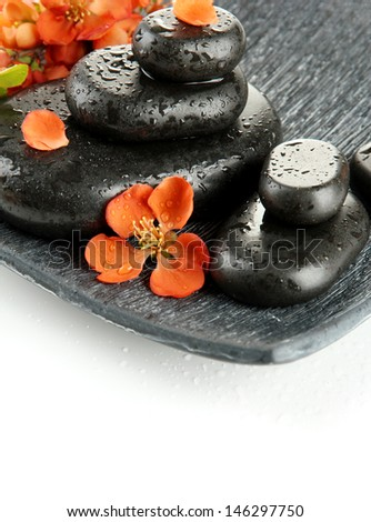 Spa stones and flowers isolated on white - stock photo