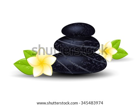 Spa stones and frangipani flower isolated on a white background. - stock photo