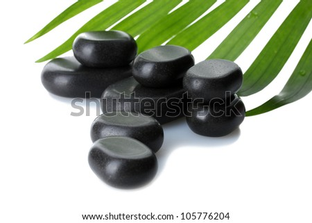 Spa stones and green palm leaf isolated on white