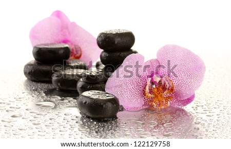 Spa stones and orchid flowers, on wet background