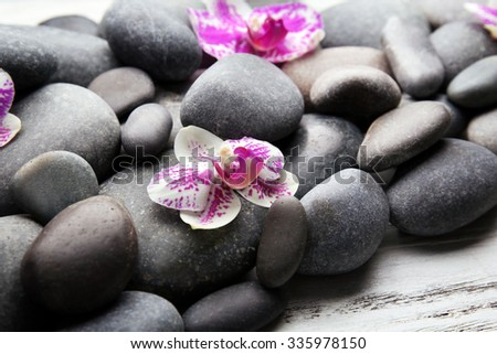 Spa stones and orchids closeup - stock photo