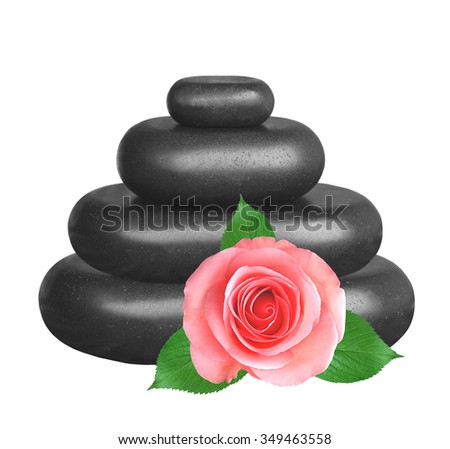 Spa stones and pink roses isolated on white background - stock photo
