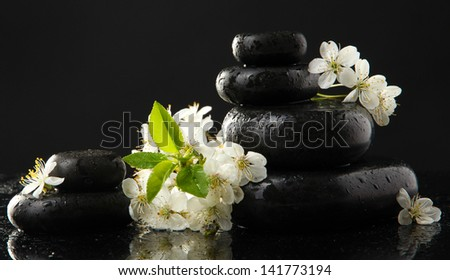 Spa stones and white flowers isolated on black - stock photo