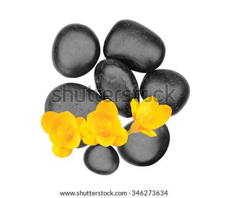 Spa stones and yellow flower isolated on white background - stock photo