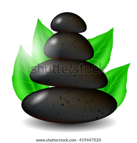 Spa Stones Background with Green Leaves