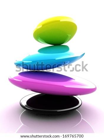 Spa stones. 3d icon. CMYK concept - stock photo