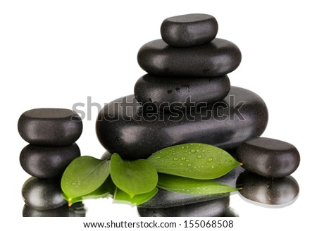 Spa stones on bright background