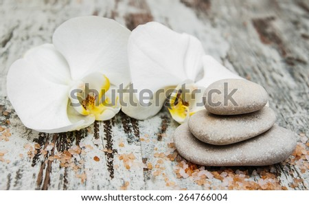 Spa stones, orchid flower heads on a wooden background - stock photo