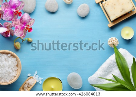Spa stones,salt,towel and leaf