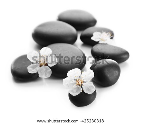 Spa stones with spring flowers on white background