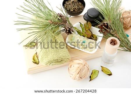 spa stuff on white background - stock photo