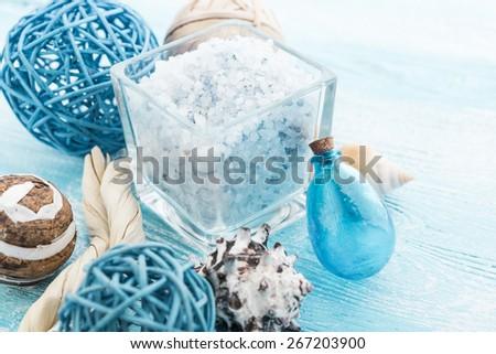 Spa stuff with sea salt and shell - stock photo