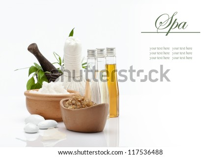spa theme object on white background. banner. lots of copy space. - stock photo