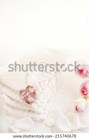 spa towl stone hart pink rose - stock photo