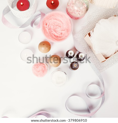 Spa Treatment and Aromatherapy Set for Relaxation and Wellness. Top View, Selective Focus. Image Toned. - stock photo
