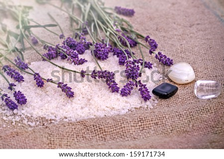 Spa treatment - concept (lavender, mineral salt and spa stones) - stock photo